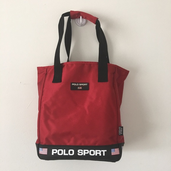 b81583dbb1d3 Vintage 90 s Polo Sport Tote Bag Purse Red. M 5b4b81e2aaa5b8abc21abe48